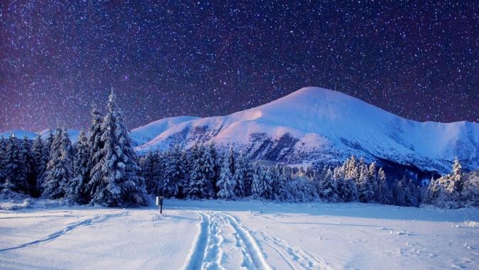 Snow Landscape Wallpaper Snow Winter Sky Tree Mountain 379198 Wallpaperuse